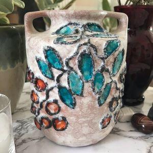 Ceramic Vase with leaf and berry design